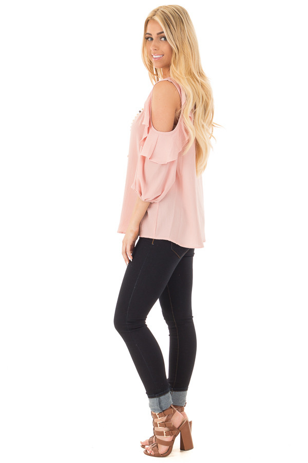 Blush Cold Shoulder Top with 3/4 Sleeves and Ruffle Detail side full body