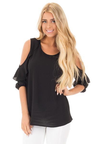 Black Cold Shoulder Top with 3/4 Sleeves and Ruffle Detail front close up