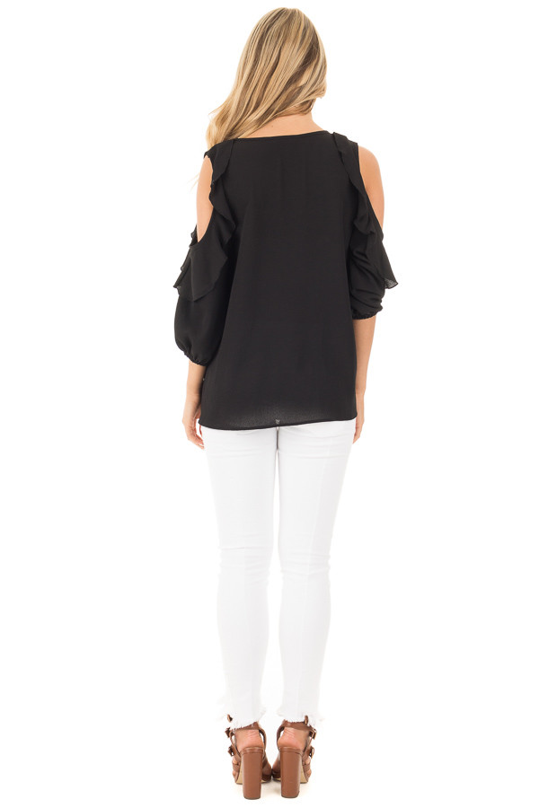 Black Cold Shoulder Top with 3/4 Sleeves and Ruffle Detail back full body