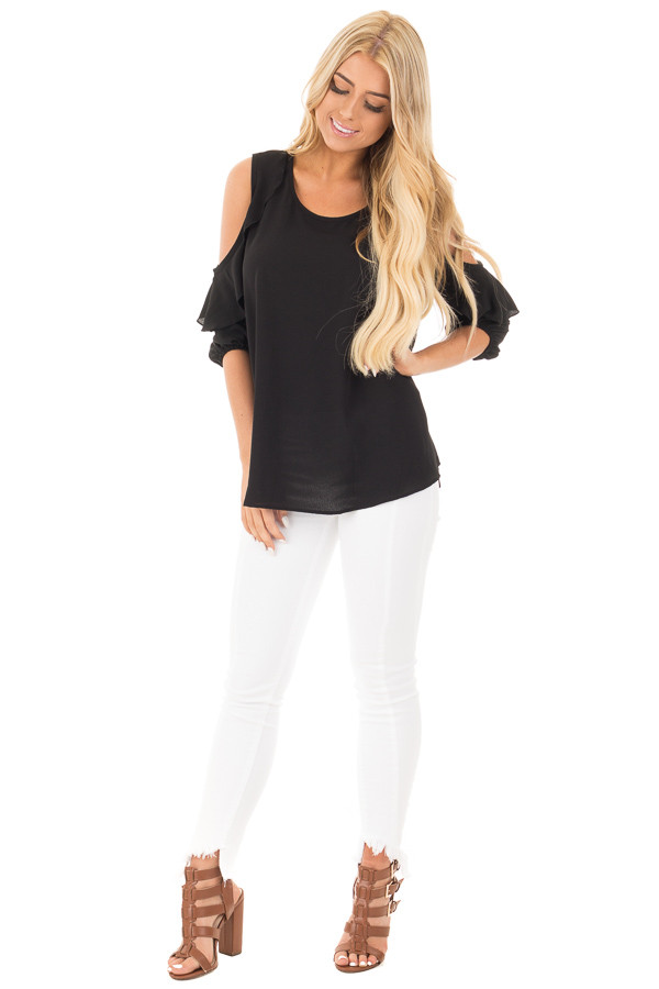 Black Cold Shoulder Top with 3/4 Sleeves and Ruffle Detail front full body