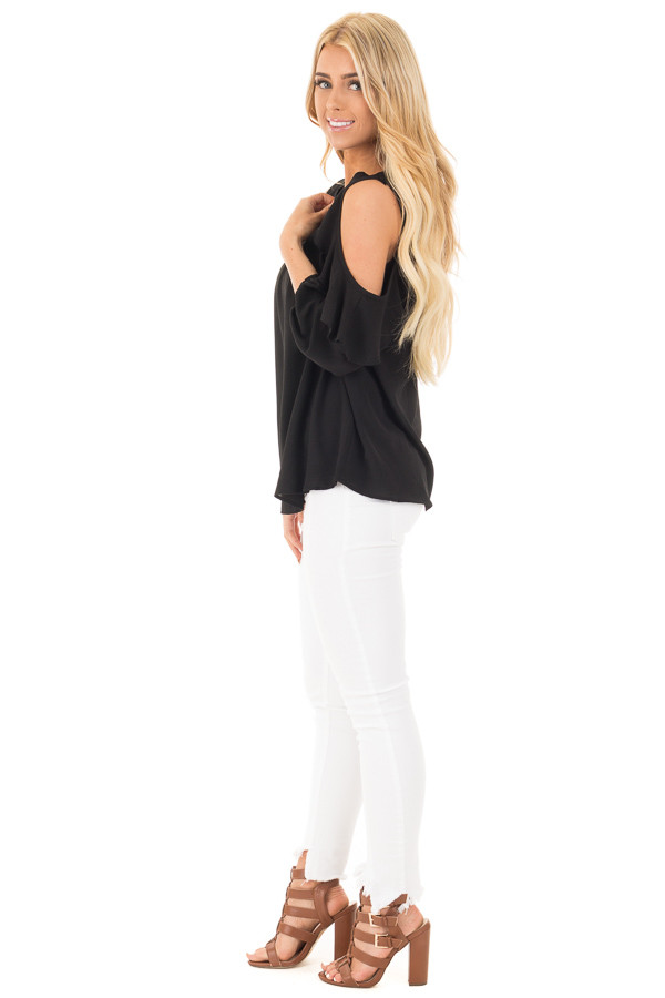 Black Cold Shoulder Top with 3/4 Sleeves and Ruffle Detail side full body