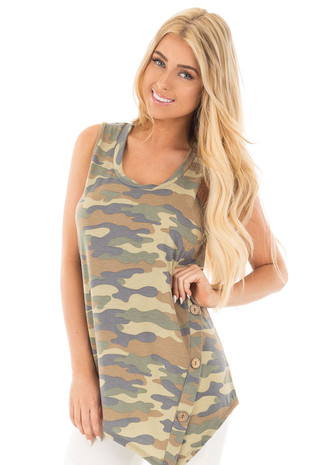 Camouflage Print Asymmetrical Tank with Button Detail front close up