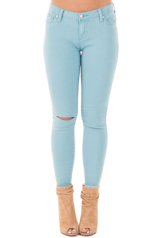 Sky Blue Denim Mid Rise Ripped Knee Skinny Ankle Jeans front view