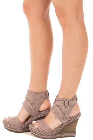 Grey Faux Leather Wedge Sandal with Braided and Strap Detail side view