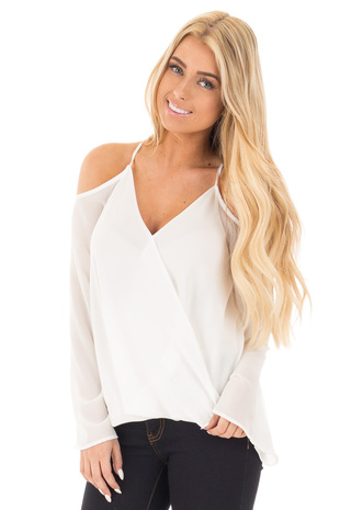 Off White Wrap Style Open Shoulder V Neck Blouse front close up