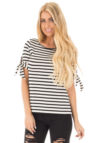 Ivory and Black Striped Short Sleeve Tee with Tie Details front close up