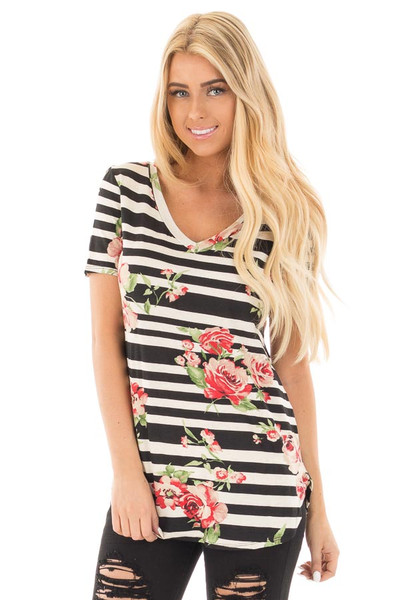 Black Striped V Neck Tee with Rose Floral Print front close up