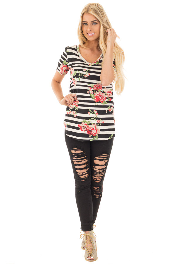 Black Striped V Neck Tee with Rose Floral Print front full body
