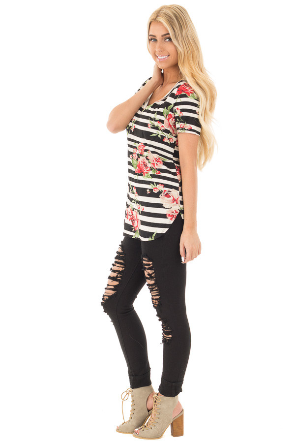 Black Striped V Neck Tee with Rose Floral Print side full body
