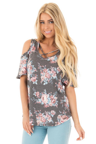 Charcoal Floral Print Cold Shoulder Top with X Neckline front close up