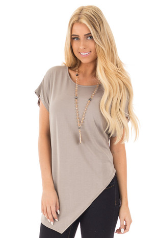 Light Mocha Cap Sleeve Tee with Asymmetrical Split Hem front close up
