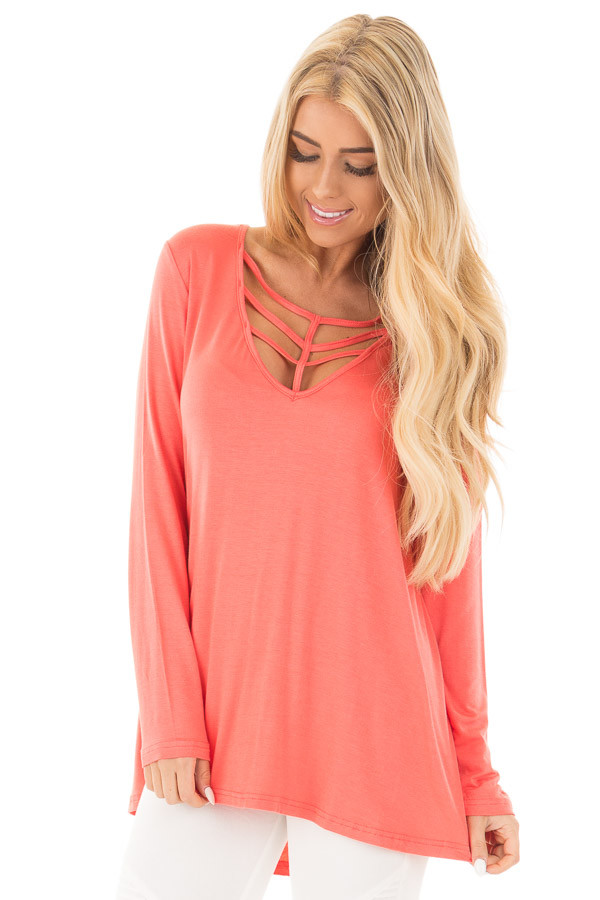 Coral Long Sleeve Top with Caged Neckline front close up