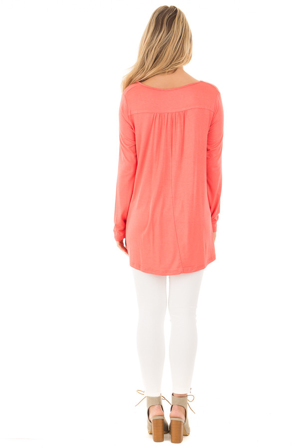 Coral Long Sleeve Top with Caged Neckline back full body