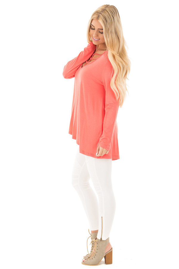 Coral Long Sleeve Top with Caged Neckline side full body