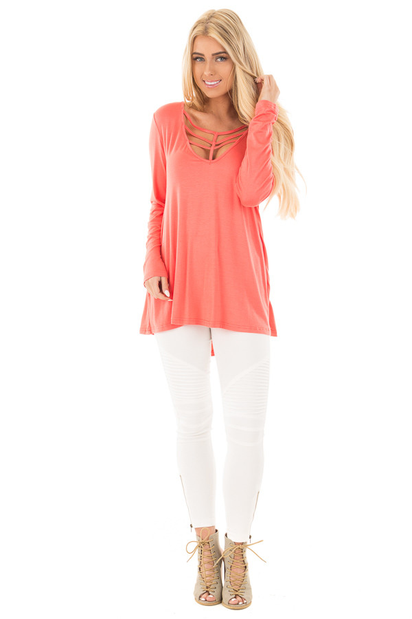 Coral Long Sleeve Top with Caged Neckline front full body