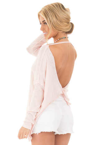 Light Blush Knit Long Sleeve Dolman Top with Open Twist Back back side close up