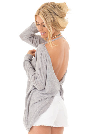 Slate Grey Knit Long Sleeve Dolman Top with Open Twist Back back side close up