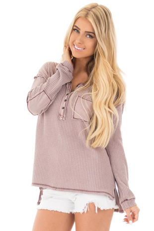 Mauve Waffle Knit Long Sleeve Top with Elbow Patches front close up