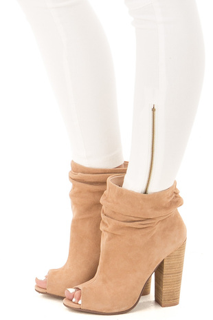 Nude Suede Ankle Bootie with Scrunched Detail side view