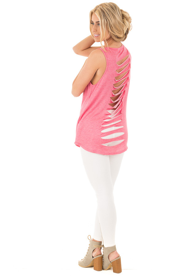 Berry Red Tank Top with Slashed Back Details back side full body