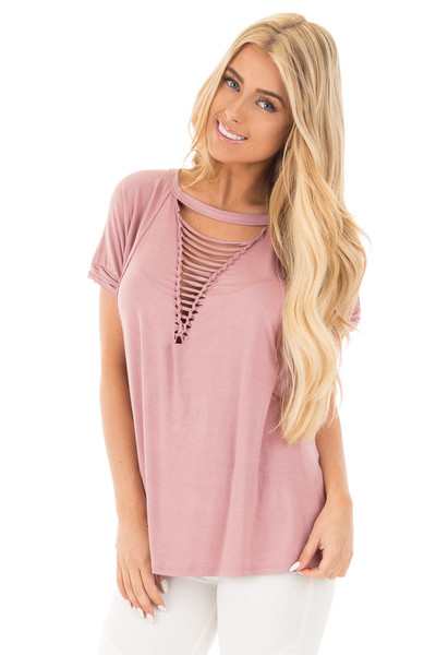 Dusty Rose Oversized Tee with Braided Ladder Neckline Detail front close up
