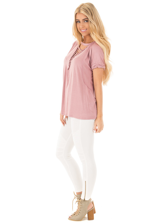Dusty Rose Oversized Tee with Braided Ladder Neckline Detail side full body