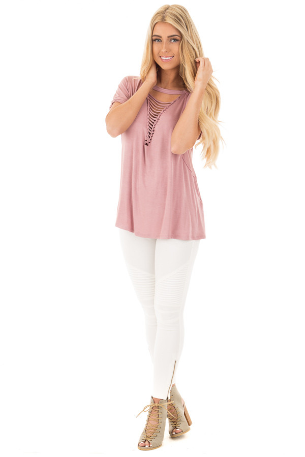 Dusty Rose Oversized Tee with Braided Ladder Neckline Detail front full body
