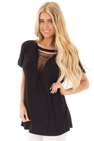Black Oversized Tee with Braided Ladder Neckline Detail front close up