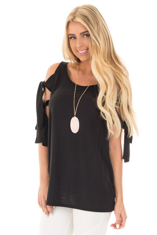 Black Soft Knit Cold Shoulder Top with Tie Detailed Sleeves front close up