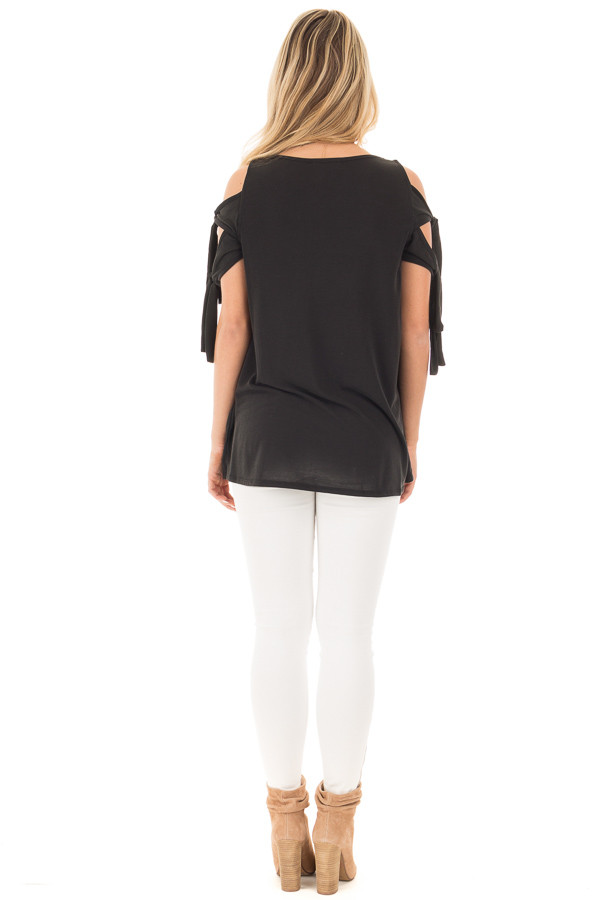 Black Soft Knit Cold Shoulder Top with Tie Detailed Sleeves back full body