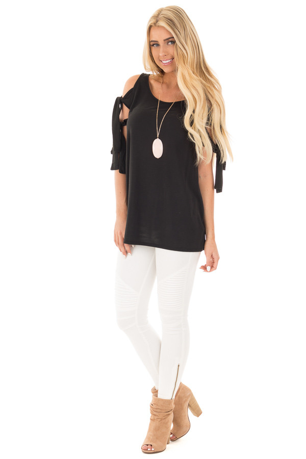 Black Soft Knit Cold Shoulder Top with Tie Detailed Sleeves front full body