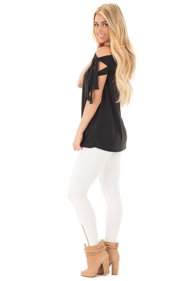 Black Soft Knit Cold Shoulder Top with Tie Detailed Sleeves side full body