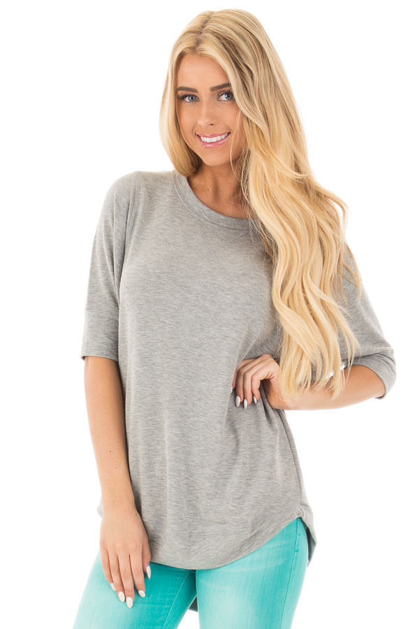 Heather Grey Half Sleeve Dolman Sweater with Rounded Hem front close up