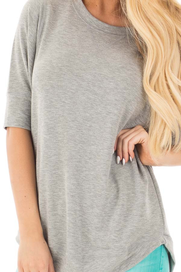 Heather Grey Half Sleeve Dolman Sweater with Rounded Hem detail