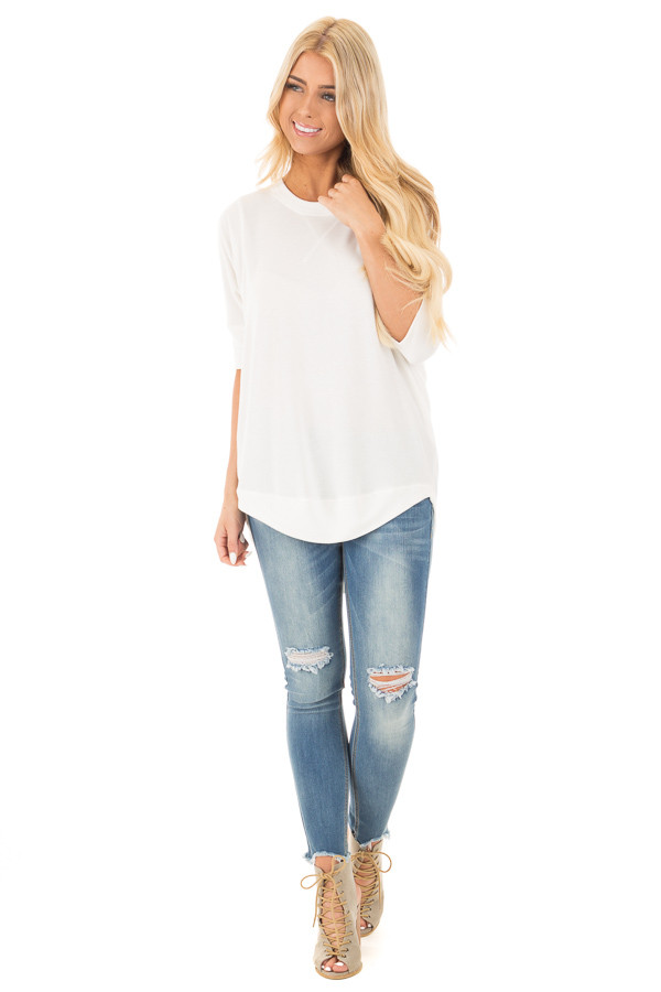 Ivory Half Sleeve Dolman Sweater with Rounded Hem front full body