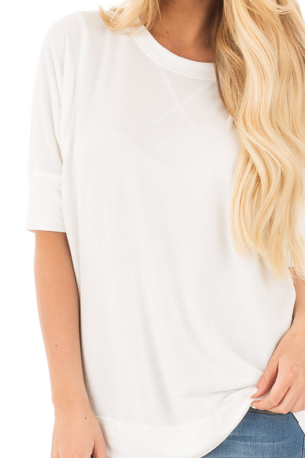 Ivory Half Sleeve Dolman Sweater with Rounded Hem detail