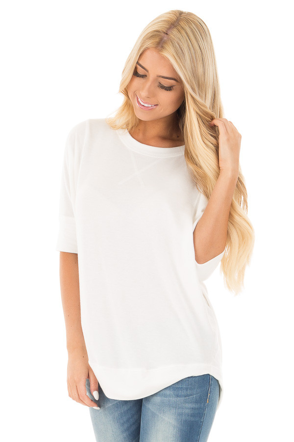 Ivory Half Sleeve Dolman Sweater with Rounded Hem front close up