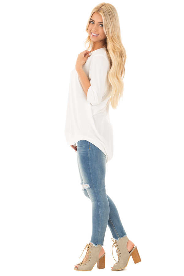 Ivory Half Sleeve Dolman Sweater with Rounded Hem side full body