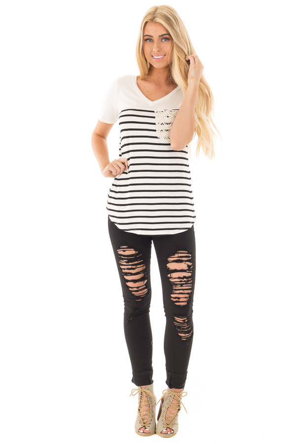 Black and Ivory Striped V Neck Top with Lace Pocket Detail front full body