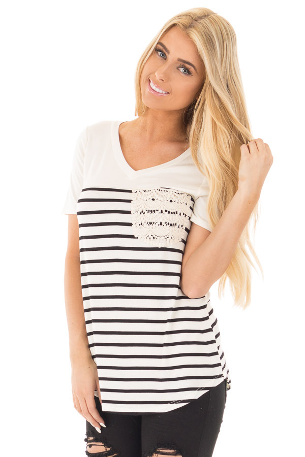 Black and Ivory Striped V Neck Top with Lace Pocket Detail front close up