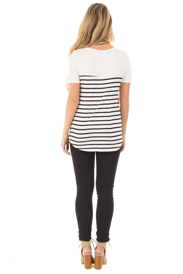 Black and Ivory Striped V Neck Top with Lace Pocket Detail back full body