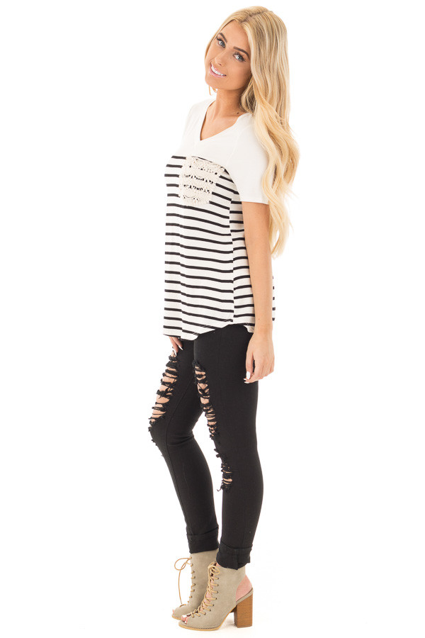 Black and Ivory Striped V Neck Top with Lace Pocket Detail side full body