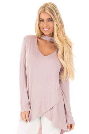 Light Mauve Cut Out Mock Neck Top with Hi Low Tulip Hemline front close up