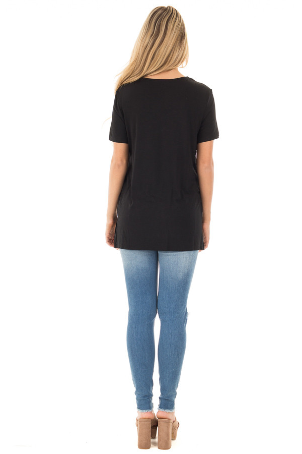 Black Tee with Cut Out Criss Cross Neckline back full body