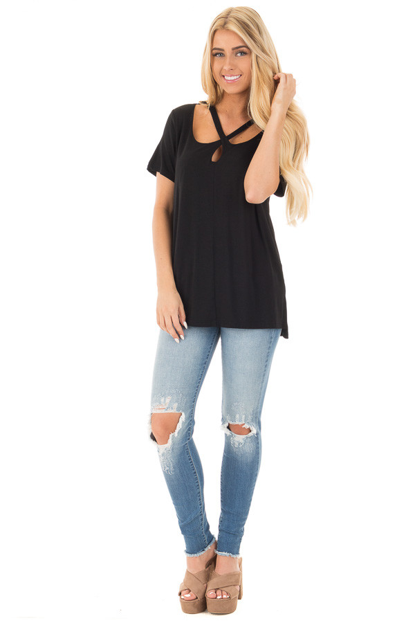 Black Tee with Cut Out Criss Cross Neckline front full body