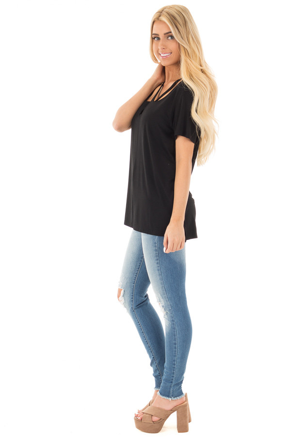 Black Tee with Cut Out Criss Cross Neckline side full body