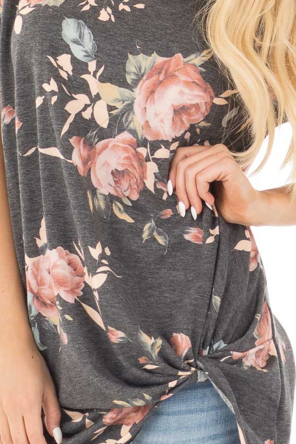 Charcoal Floral Print Short Sleeve Top with Front Tie detail