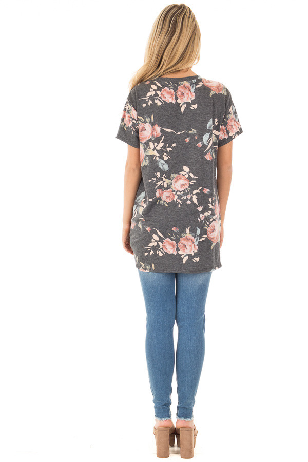 Charcoal Floral Print Short Sleeve Top with Front Tie back full body