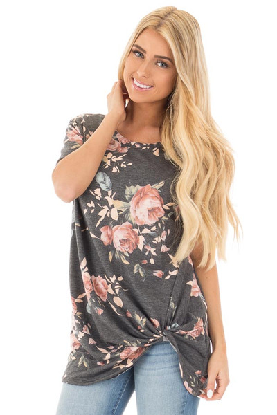 Charcoal Floral Print Short Sleeve Top with Front Tie front close up