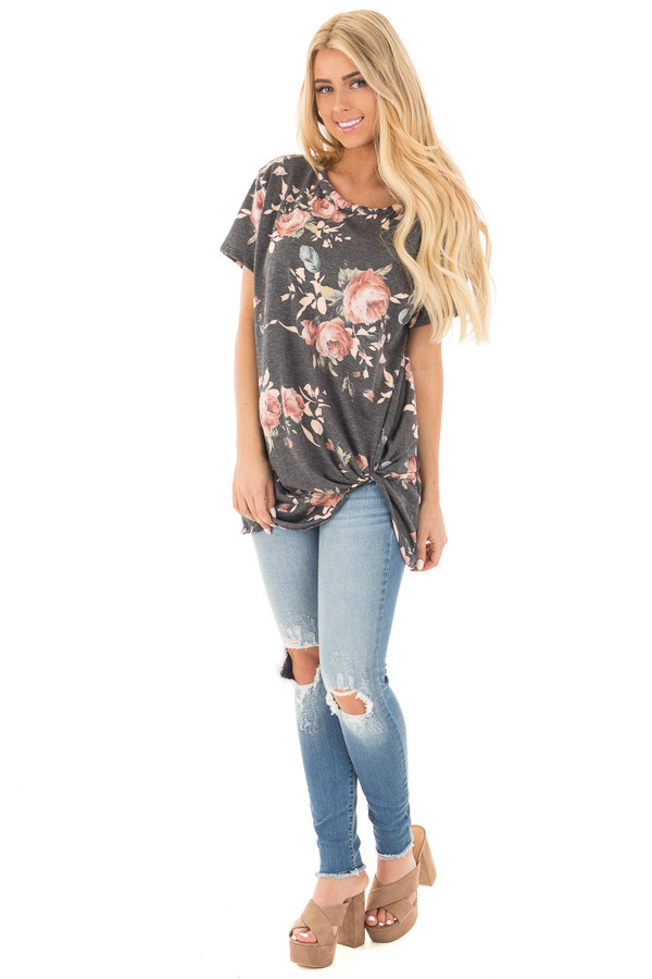 Charcoal Floral Print Short Sleeve Top with Front Tie front full body